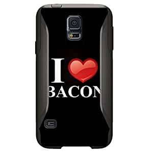 CUSTOM Black OtterBox Commuter Series Case for Samsung Galaxy S5 - Black White Red I Heart Bacon