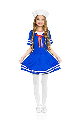 Girls' Sea Sweetie Navy Ship Mate Dress Up & Role Play Halloween Costume (8-11 years) - Halloween Costume For 11 Year Girl