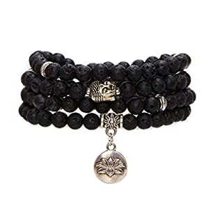 Bivei Mala Beads Bracelet, Natural Gemstone Prayer Beads Lutos Charm 108 Mala Beads Meditation Necklace-Lava Rock Stone