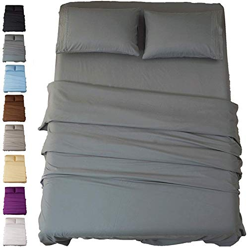 Sonoro Kate Bed Sheet Set Super Soft Microfiber 1800 Thread Count Luxury Egyptian Sheets 16-Inch Deep Pocket Wrinkle and Hypoallergenic-4 Piece(Queen Dark Grey) 4 Piece Comfort Grip