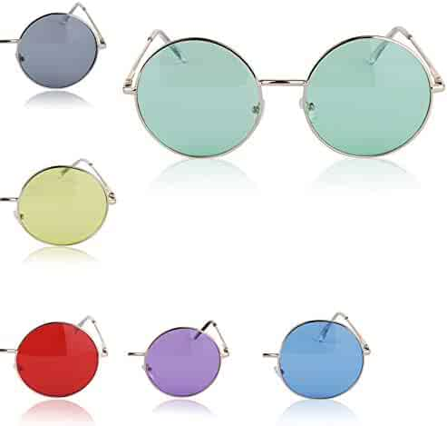 87d6498f5 Sunny Pro Round Sunglasses Retro Circle Tinted Lens Glasses UV400 Protection