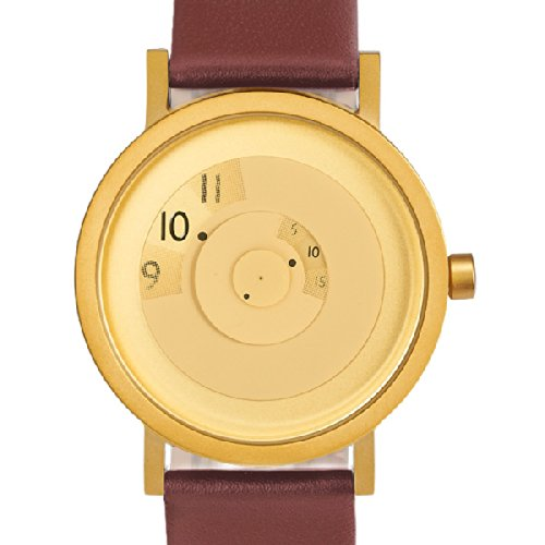 Projects Reveal 40MM Brass Face & Leather Band Unisex Watch (Gold Tone/Brown) by Projects