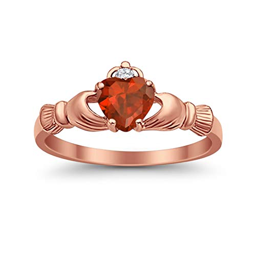 (925 Sterling Silver Claddagh Ring Rose Tone Rhodium Plated Heart Shaped Simulated Garnet Clear CZ Accent, Size-8)
