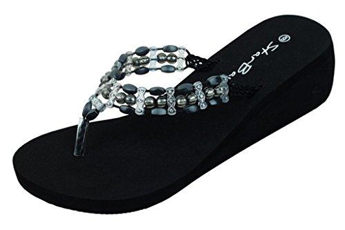 Thongs Flip Fashion 2307 Stones Flop Womens Black W Sandals Wedge nR4xqqT