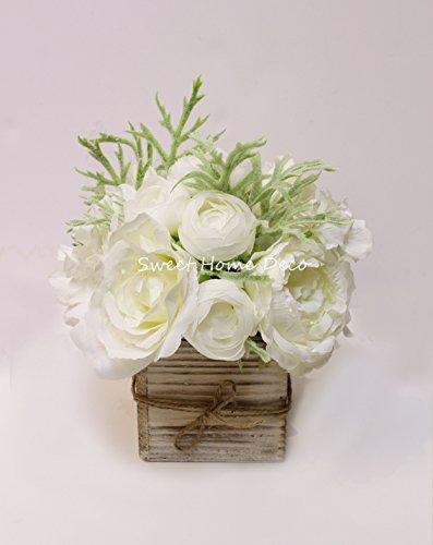 Sweet Home Deco 8'' Silk Rose Peony Hydrangea Mixed Flower Arrangement w/ Wood Vase Wedding Home Decorations (White) (Hydrangea Silk Flowers In Vase)