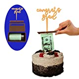 Money Cake Dispenser Box, Cake Money Pull Out Kit, Money Cake Set includes 1 plastic roll (50 connected pockets) and Happy Birthday, Graduation or Card Holder Topper