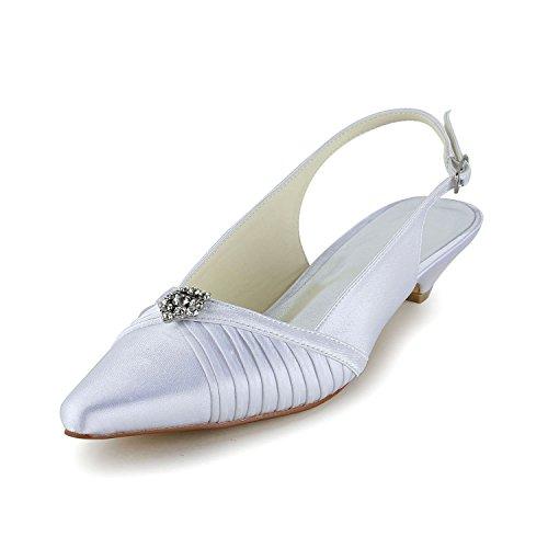 JIA JIA Chaussures de Mariée Pour Femme 30132 Bout Fermé Bas Talon Ruffles Stain Sandales Strass Chaussures de Mariage Blanc MkZD3