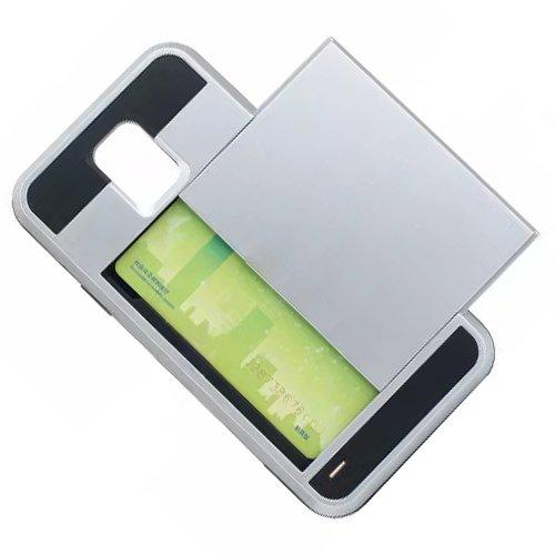 Telefon-Kasten - TOOGOO(R)Karte Tasche Stossfeste Duenne Hybrid Mappe Abdeckung fuer Samsung Galaxy S5 Silber