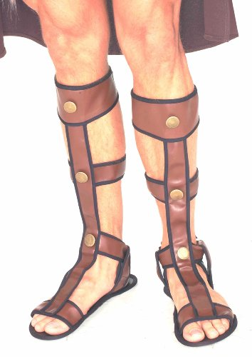 Forum Novelties Roman Gladiator Sandals, Brown, One (Halloween Gladiator Costume)