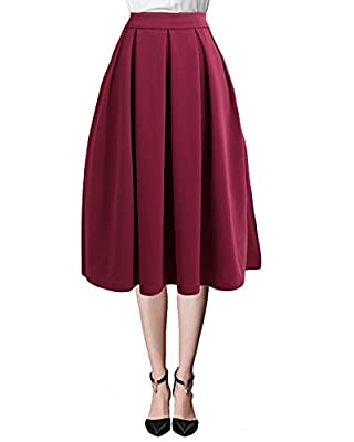 Mixfeer Women's High Waisted A Line Pleated Skirt Side Zipper Flared Full Midi Skirt with Pockets