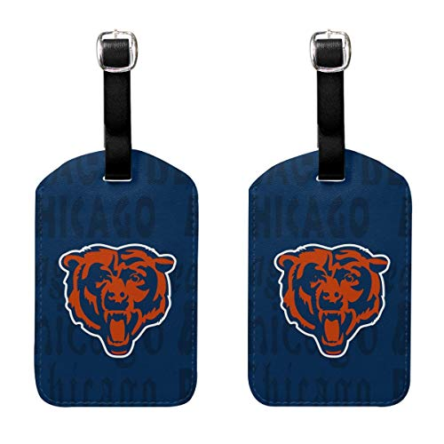 MamaTina Design PU Leather Luggage Tag Chicago Bears Suitcase Labels ID Tags 2 Pcs Set for Bags & Baggage ()