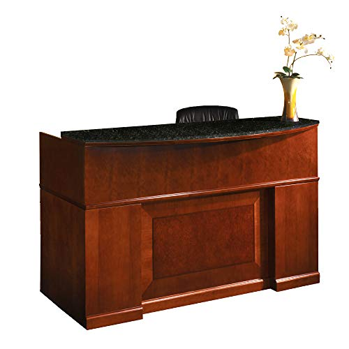Mayline SRCDMSCR Sorrento Reception Station Desk with Granite Counter, 1 PBF and 1 FF Pedestal, Bourbon Cherry Veneer