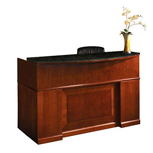 (Mayline SRCDMSCR Sorrento Reception Station Desk with Granite Counter, 1 PBF and 1 FF Pedestal, Bourbon Cherry Veneer)