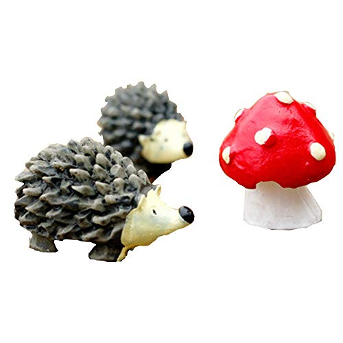 Fan-Ling Micro Landscape Ornament,Miniature Hedgehog Mushroom Three-Piece Small Decor,Fairy Garden Dotted Small Potted DIY Toy,Bonsai Flower Plant Garden Decoration