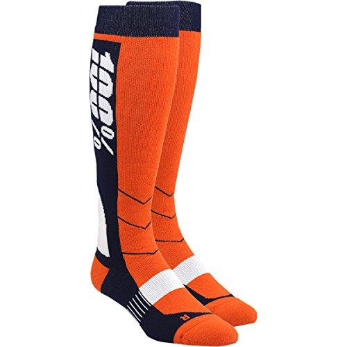 100% Unisex-Adult Hi Side 8'' Mid-Calf Riding Socks (Orange,Small/Medium) by 100% (Image #1)