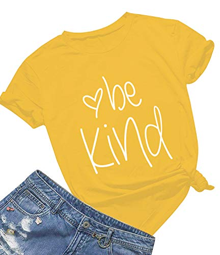 Be Kind T Shirts Women Cute Graphic Blessed Shirt Funny Inspirational Teacher Fall Tees Tops(M, Yellow01)