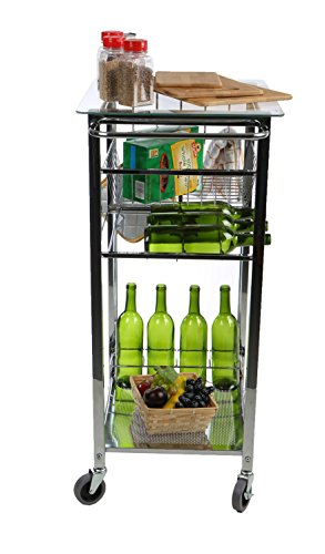 Mind Reader Glass Top Mobile Kitchen Cart with Wine Bottle Holder, Wine Rack, Towel Holder, Perfect Kitchen Island for Cooking Utensils, Kitchen Appliances, and Food Storage, Silver