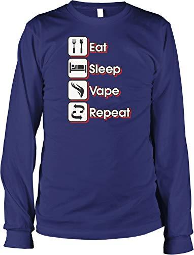 Hoodteez Eat, Sleep, Vape, Repeat Men's Long Sleeve Shirt, XL - Vape Ohm Coils Sub