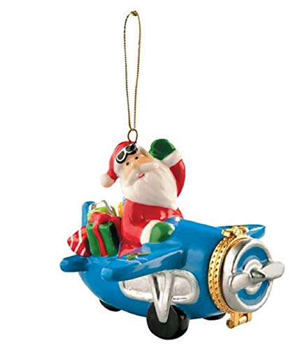 FTH Enameled Porcelain Waving Santa in Airplane Opening Christmas Ornament.Doubles as a Money,Check,Surprise Note,or Medication Holder.Opening Double Heart Closure-Sweet