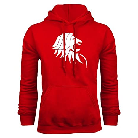 af1e8cc227 Amazon.com   St. Thomas Red Fleece Hoodie  Lion Head    Sports ...