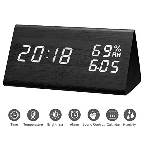 Black Triangle Clock (Mucjun Digital Alarm Clock with Wooden Electronic LED Time Date Display,3 Alarm Settings,3 Brightness Levels,Voice Control,Dual Humidity Temperature for Bedroom Bedside Kids and Heavy Sleeper - Black)