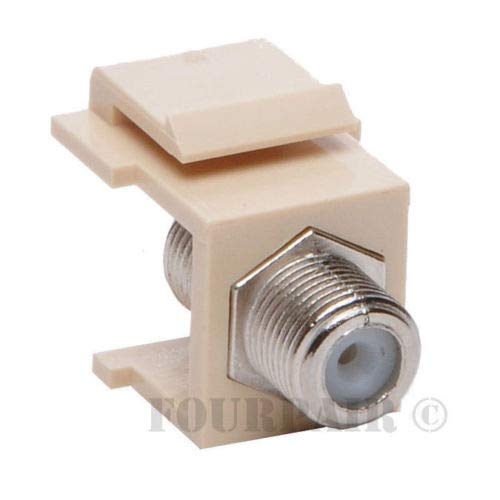 - 10 Pack Lot F-81 Coax Keystone Jack Snap-In Cable TV Coupler Connector RG6 Ivory
