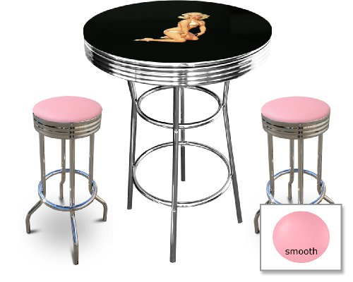 Marilyn Monroe Themed Bar Table Set - Black Bar Table with 2 Chrome 29'' Swivel Seat Bar Stools by The Furniture Cove