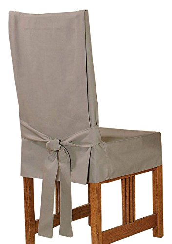 SureFit Duck Solid Dining Chair, Linen Duck Short Dining Chair Slipcovers