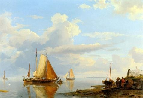 Oil Painting 'Johannes Hermanus Koekkoek,Fishing Boats Off The Coast At Dusk,1778-1851', 16 x 23 inch / 41 x 59 cm , on High Definition HD canvas prints, Bar, Home Office (Halloween Talking Flashcards)