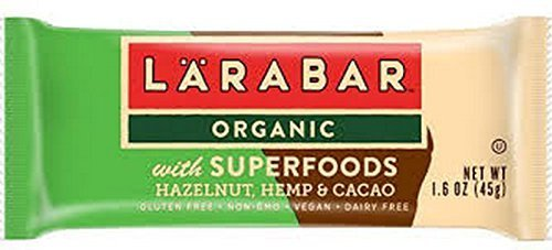LÄRABAR Organic Bar with Superfoods Hazelnut, Hemp and Cacao, 1.6 Ounce (Pack Of 15)