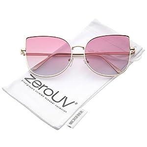 zeroUV - Women's Oversize Slim Metal Frame Gradient Colored Flat Lens Cat Eye Sunglasses 58mm (Matte Gold / Pink Fade)