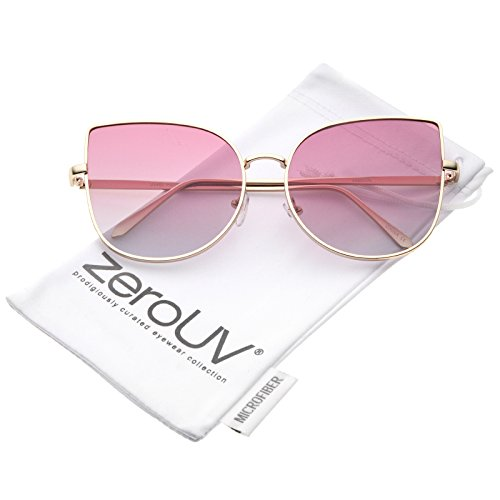 zeroUV - Women's Oversize Slim Metal Frame Gradient Colored Flat Lens Cat Eye Sunglasses 58mm (Matte Gold / Pink - Lens Sunglasses Fade