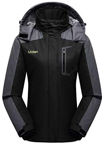 Mden Women's Insulated Jacket Snowboard Hooded Waterproof Mountain Ski Jacket Winter Coat(Black, Large)