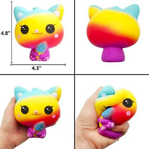 Yonishy Unicorn Squishies Toy Set - Jumbo Narwhale Cake,Unicorn Cake,Unicorn Donut,Dog,Unicorn Horse,Ice Cream Cat Kawaii Slow Rising Squishy Toys for Kids Party Favors(6 Packs) by Yonishy (Image #3)