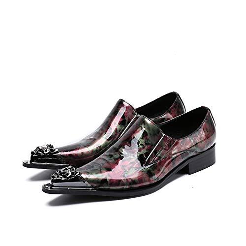 Scarpe Scarpe Red Formale Abito Mocassini HN Oxford On 45EU 39 Sera Elegante Uomo Slip Uomo Appartamenti Basse Pelle Rosso Shoes H1n851qv