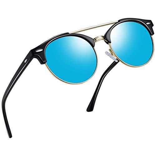 Joopin Vintage Round Sunglasses for Women Retro Brand Polarized Sun Glasses E3447 (Double Bridge Blue Lens)