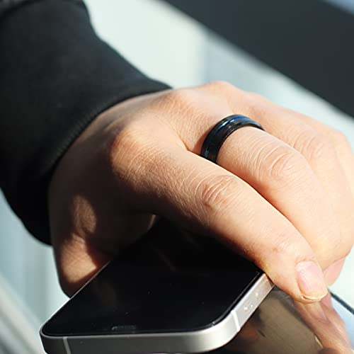 Zoesky Mens 8mm Black Matte Tungsten Carbide Ring Engagement Band Blue Grooved Center Comfort Fit (8)