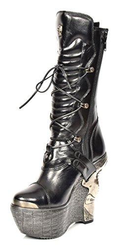 New Rock Damen Schnürsenkel Gothic Biker Stiefel Echtes Leder Wadenlänge Schuhe