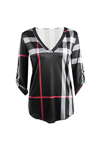 Long Sleeve Baby Doll Top (Cinyifan WomensV Neck 3/4 Sleeve Plaid Shirt Loose Blouse)