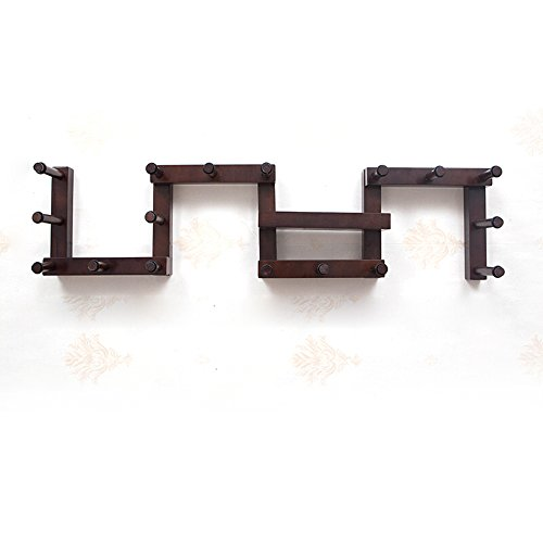 Solid Wooden Coat Rack / Wall / Creative Hanging Clothes Rack / Doors Entrance Wall Closer Clothes Rack/Deformable ( Color : Walnut , Size : 1.20.3m ) by Hook up