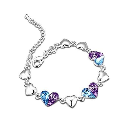 Bracelet suite de coeurs cristal swarovski elements bleu turquoise et violet plaqué or blanc