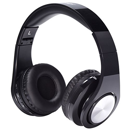 Active Noise Cancelling Bluetooth Headphones - Areskey ANC-B12 Wireless Foldable Over Ear Stereo Sound Headset with Microphone, Carrying Case, 25 Hours Playtime for Travel, Sports, Airplane (Black)