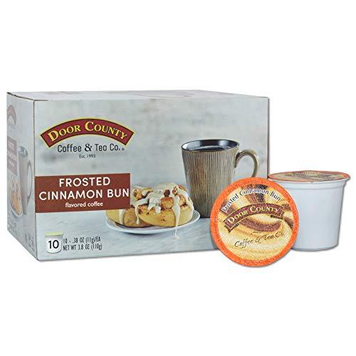 Door County Coffee, Single Serve Cups for Keurig Brewers, Frosted Cinnamon Bun Flavored Coffee, Medium Roast, Ground…