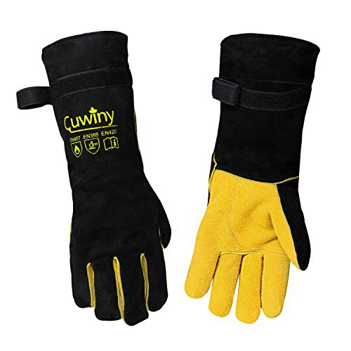 Welding Gloves, Cuwiny 1112°F Heat/Fire Resistant/Leather Forge Gloves, with Kevlar Stitching String, 16 inches Extra Long Sleeve and Fireproof Velcro,fit for Mig/Tig Welder/BBQ/Cooking/Cutting