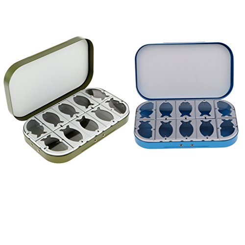 num Alloy 10 Compartments Fly Fishing Box Flies Lures Box Clear Windows Blue & Green ()