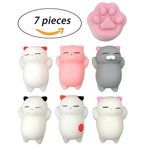 Squishy HONGSA 7 Pcs Kawaii Squishy Toys Kawaii Squishy Cats Stress Reduce Mochi Squishy Animals Colorful Cat Shape Squishies