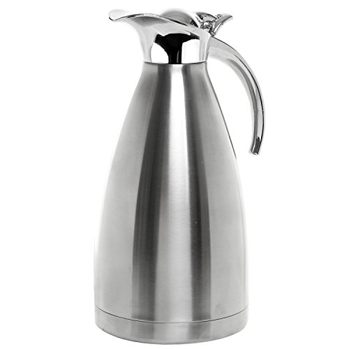Double Wall Stainless Steel 2 Liter Vacuum Jug / Thermal Carafe / Insulated Pot for Coffee, Tea & Water w/ Plastic Lid