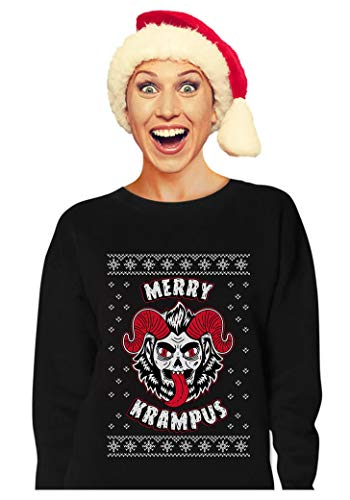 Tstars - Merry Krampus Ugly Christmas Naughty Demon Women Sweatshirt Large Black -
