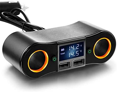 LILOQP Cigarette Lighter Adapter Double Socket, 12v/24v Dual USB Digital Display one for Two, Suitable for Automotive Electronic Accessories
