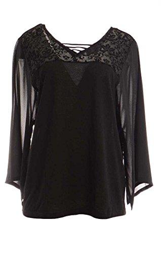 August Silk Women's Sheer Kimono Sleeve Blouse Large Black